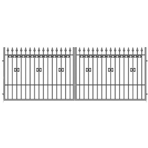 Ola11 kétszárnyú kapu, szélesség 380 cm, magasság 150 cm, alapozva